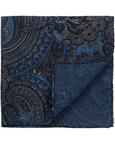 Amanda Christensen Wool Doublefaced Printed Paisley Pocket Square Blue