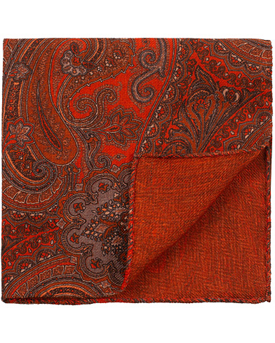 Amanda Christensen Wool Doublefaced Printed Paisley Pocket Square Rust  i gruppen Accessoarer / Näsdukar hos Care of Carl (16100910)