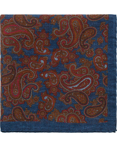 Amanda Christensen Wool Printed Paisley Pocket Square Blue  i gruppen Accessoarer / Näsdukar hos Care of Carl (16101210)