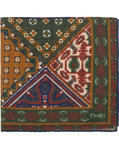 Drake's Wool/Silk Prited Pocket Square Green