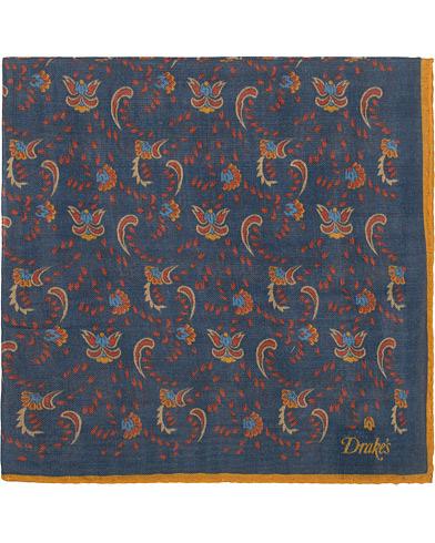 Drake's Wool/Silk Printed Flower Pocket Square Blue