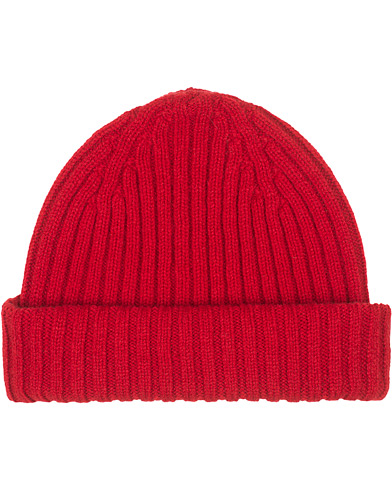 Drake's Lambswool Ribbed Hat Red