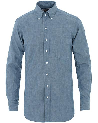 Drake's Slim Fit Chambray Shirt Light Washed