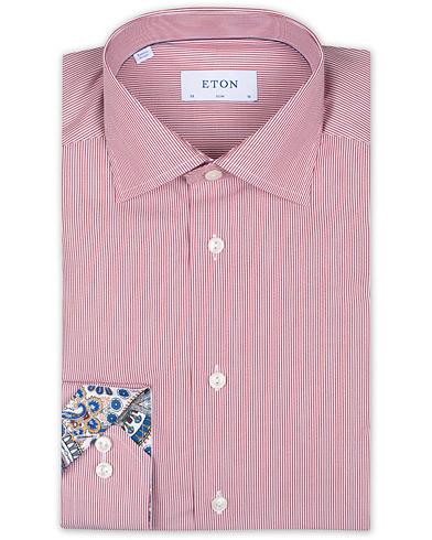 Eton Slim Fit Poplin Striped Contrast Shirt Red/White