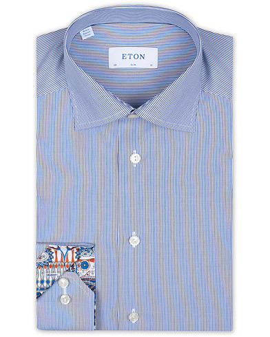 Eton Slim Fit Poplin Striped Contrast Shirt Blue/White i gruppen Kläder / Skjortor / Formella hos Care of Carl (16202911r)