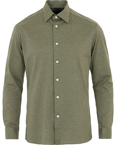 Eton Slim Fit Jersey Button Under Shirt Green i gruppen Kläder / Skjortor / Casual hos Care of Carl (16204011r)