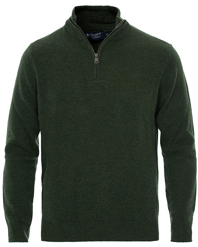 Hackett Lambswool Half Zip Military Green i gruppen Kläder / Tröjor / Zip-tröjor hos Care of Carl (16211111r)