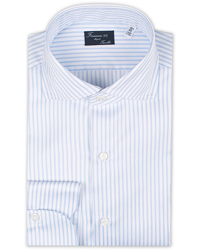 Finamore Napoli Milano Slim Fit Striped Travel Shirt Light Blue i gruppen Kläder / Skjortor / Formella / Formella skjortor hos Care of Carl (16231211r)
