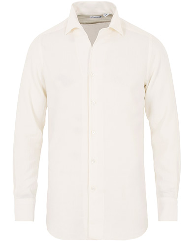 Finamore Napoli Hidden Button Down Cashmere Shirt Ivory i gruppen Kläder / Skjortor / Casual hos Care of Carl (16231511r)