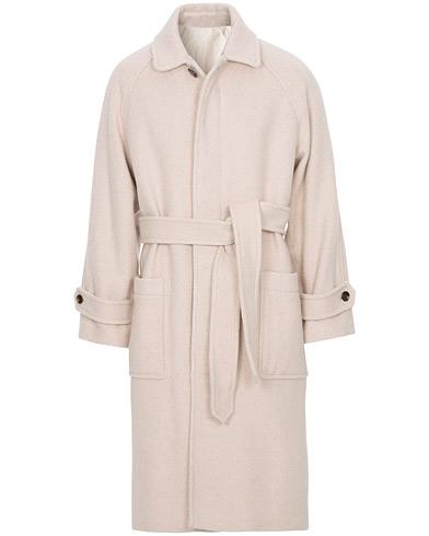 AMI Brushed Wool Robe Coat Beige