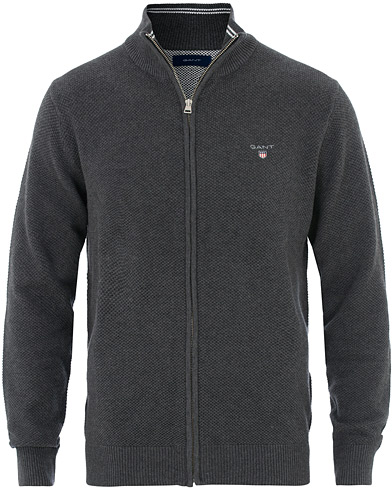 GANT Cotton Pique Full Zip Antracite Melange i gruppen Kläder / Tröjor / Zip-tröjor hos Care of Carl (16275711r)