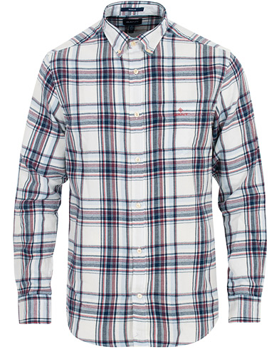 GANT Regular Fit Windblow Flannel Check Shirt White/Red