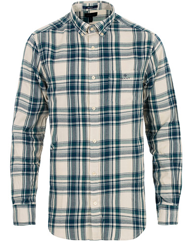 GANT Regular Fit Windblow Flannel Check Shirt White/Green i gruppen Kläder / Skjortor / Casual hos Care of Carl (16277911r)