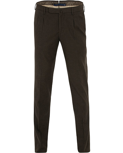 Incotex Slim Fit Pleated Trousers Dark Brown