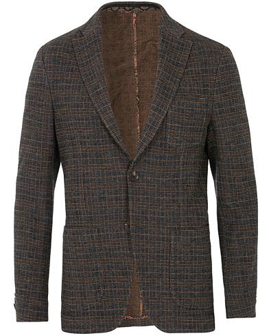 Etro Prince Of Wales Check Wool Blazer Dark Grey