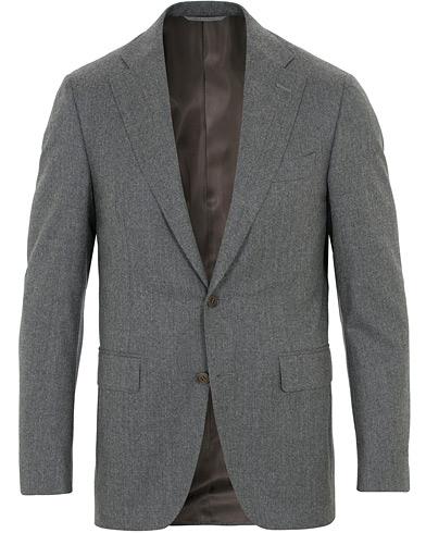 Canali Capri Flannel Patch Pocket Blazer Grey Melange