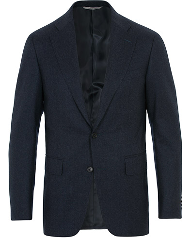 Canali Capri Flannel Patch Pocket Blazer Navy i gruppen Kläder / Kavajer / Ullkavajer hos Care of Carl (16298611r)