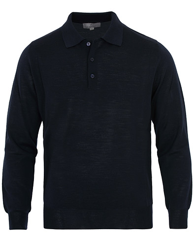 Canali Merino Wool Knitted Polo Navy i gruppen Kläder / Tröjor / Stickade pikéer hos Care of Carl (16300511r)
