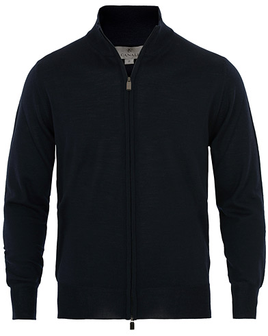 Canali Merino Wool Full Zip Sweater Navy i gruppen Kläder / Tröjor / Zip-tröjor hos Care of Carl (16300911r)