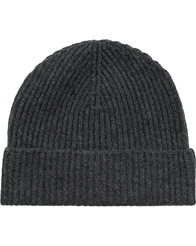 Johnstons of Elgin Cashmere Ribbed Hat Dark Granite