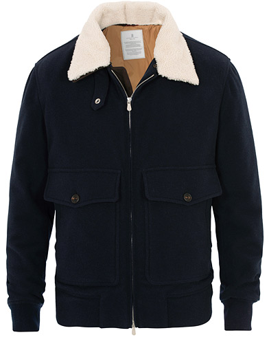 Brunello Cucinelli Cashmere Blend Shearling Collar Jacket Navy