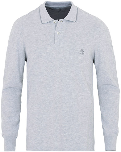 Brunello Cucinelli Long Sleeve Classic Polo Shirt Light Grey i gruppen Kläder / Pikéer / Långärmade pikéer hos Care of Carl (16380611r)