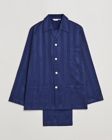 Derek Rose Striped Cotton Satin Pyjama Set Navy