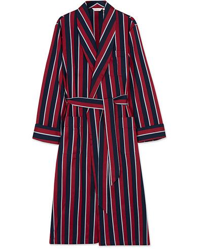 Derek Rose Striped Cotton Satin Dressing Gown Red/Blue/White