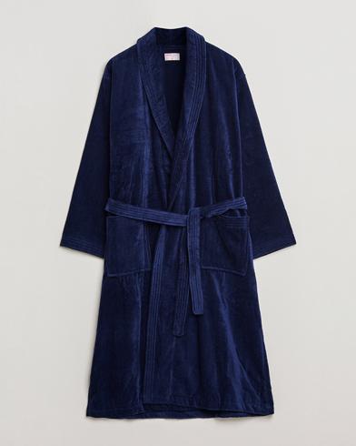 Derek Rose Cotton Velour Gown Navy