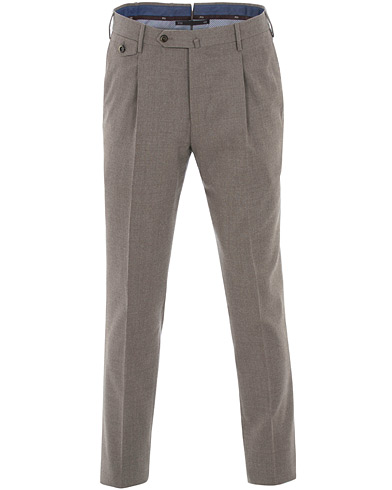 PT01 Gentleman Fit Pleated Flannel Trousers Olive i gruppen Kläder / Byxor / Flanellbyxor hos Care of Carl (16411511r)