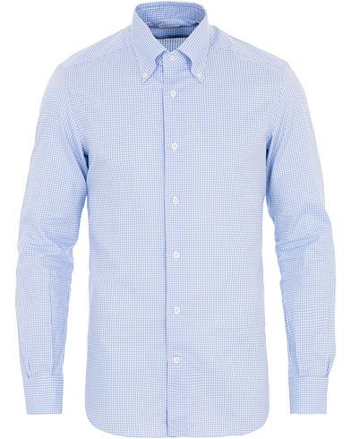Mazzarelli Soft Oxford Button Down Check Shirt Light Blue