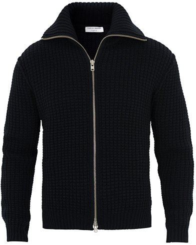 Tiger of Sweden Dardel Heavy Knitted Wool Full Zip Navy i gruppen Kläder / Tröjor / Zip-tröjor hos Care of Carl (16426111r)