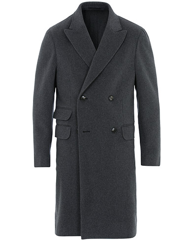 Z Zegna Double Breasted Unlined Beaver Wool Coat Grey Melange