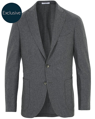 Boglioli K Jacket Patch Pocket Flannel Blazer Dark Grey i gruppen Kläder / Kavajer / Ullkavajer hos Care of Carl (16441311r)