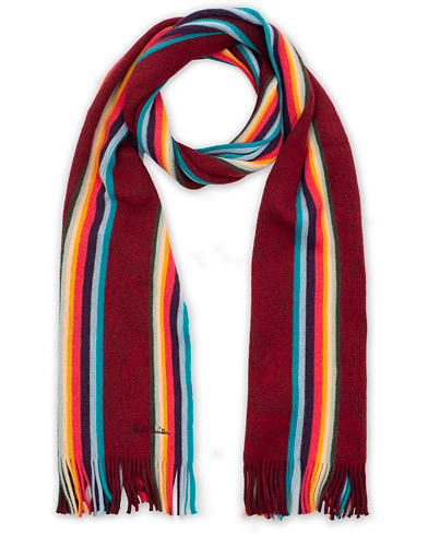 Paul Smith Artist Twisted Block Wool Scarf Bordeaux  i gruppen Accessoarer / Halsdukar hos Care of Carl (16459210)