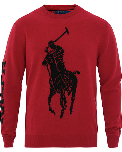 Polo Ralph Lauren Merino Wool Big Pony Knitted Crew Neck Red i gruppen Kläder / Tröjor / Stickade tröjor hos Care of Carl (16491511r)