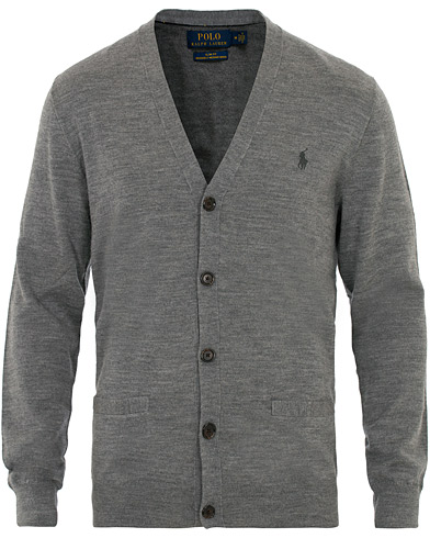 Polo Ralph Lauren Merino Cardigan Fawn Grey Heather i gruppen Kläder / Tröjor / Cardigans hos Care of Carl (16504411r)