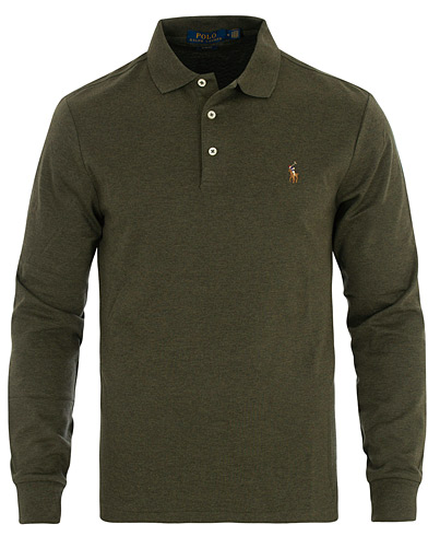 Polo Ralph Lauren Pima Luxury Long Sleeve Polo Olive i gruppen Kläder / Pikéer / Långärmade pikéer hos Care of Carl (16510011r)