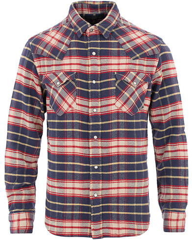 RRL Buffalo Western Flannel Shirt Navy/Red Plaid i gruppen Kläder / Skjortor / Casual hos Care of Carl (16516011r)