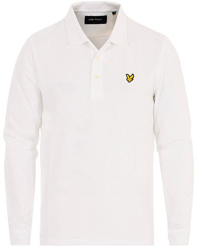 Lyle & Scott Long Sleeve Plain Polo White i gruppen Kläder / Pikéer / Långärmade pikéer hos Care of Carl (16546411r)