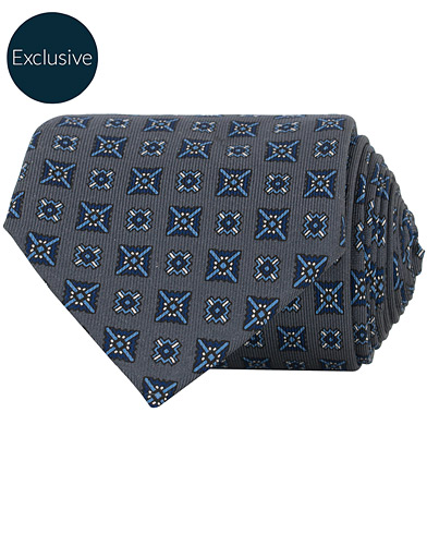 E. Marinella Printed Silk Tie 8 cm Grey  i gruppen Accessoarer / Slipsar hos Care of Carl (16559210)