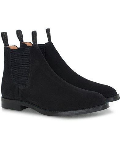 Loake 1880 Chatsworth Chelsea Boot Black Suede i gruppen Skor / Kängor hos Care of Carl (16564211r)