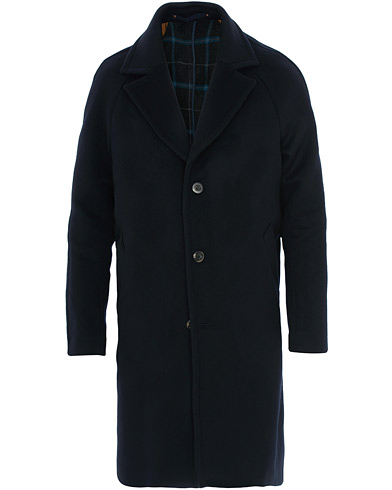 Private White V.C. Wool Cashmere Top Coat Navy