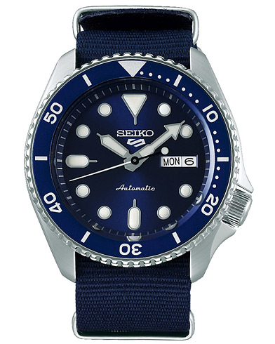 Seiko 5 Sports Mens 43mm 100m Automatic Blue Dial/Nato