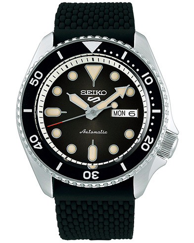 Seiko 5 Sports Mens 43mm 100m Automatic Rubber/Black Dial