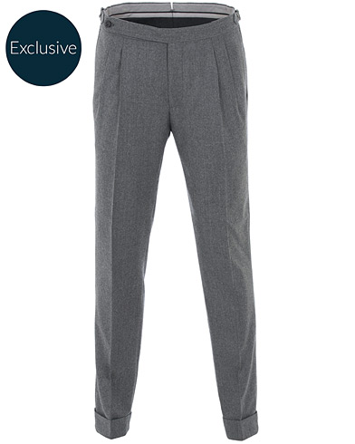 Morris Heritage Carl Double Pleated Flannel Trousers Grey