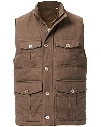 Stenströms Cotton/Linen Quilted Vest Brown