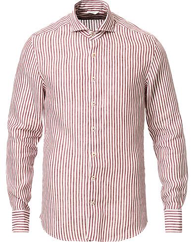Stenströms Slimline Striped Fullspread Linen Shirt Red/White