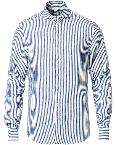 Stenströms Slimline Striped Fullspread Linen Shirt Blue/White