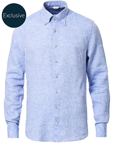 Stenströms Slimline Button Down Linen Shirt Light Blue i gruppen Kläder / Skjortor / Casual hos Care of Carl (16679511r)